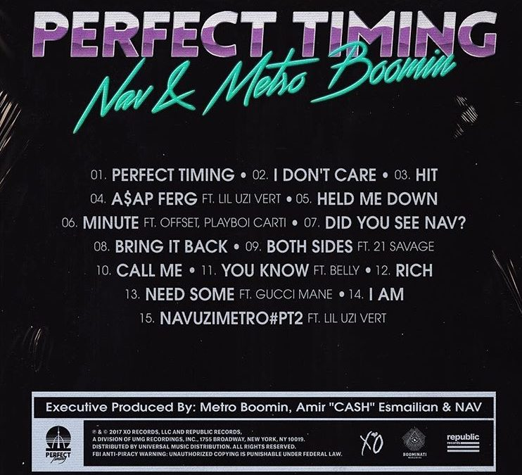 METRO BOOMIN & NAV SHARE TRACKLIST FOR PERFECT TIMING PROJECT